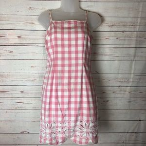 Lilly Pulitzer Pink Plaid Embroidered Dress Size 4